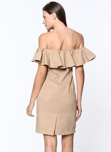 Kayık Yaka Volanlı Elbise-İroni